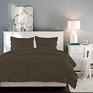 Brightlinen Mocha Double (135 X 190 Cm) Ruffle Duvet Set Solid 3pcs