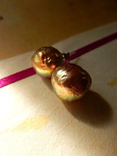 Metallic Baroque Pearl Studs, Kasumi Pearl Studs, Pearl Stud Earrings, Handmade