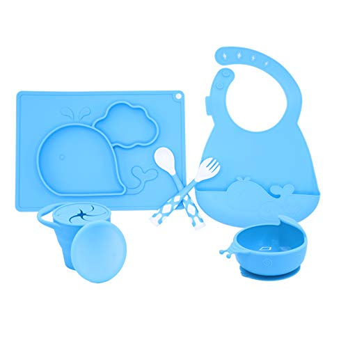 5 PC Silicone Dinnerware Baby Place Mat Cup Flatware Bowl Bib Fork and Spoon Anti Slip Easy to Clean Kids Placemat Fun Animal Shapes and Colors 5 Piece Set Blue (Whale)