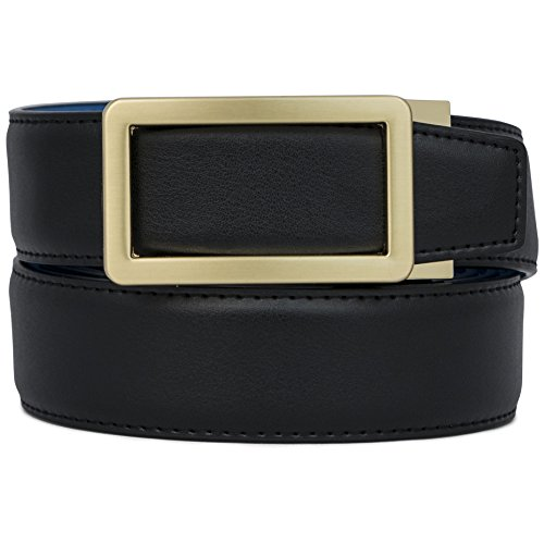 AOG DESIGN Genuine Leather Ratchet Belt with 35mm Buckle - Spring Edition (Gold - Black/Blue) - Design Belt Buckle
