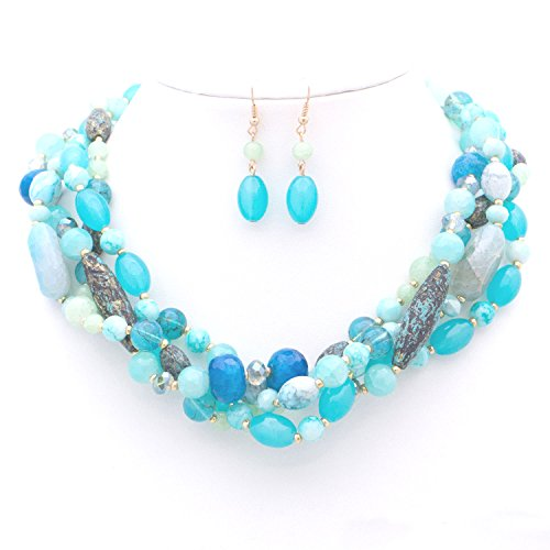 HAELIA JN0202-WOMEN'S FASHIONABLE MULTI-COLORED GEM STONE BRAIDED NECKLACE AND EARRINGS SET (TURQUOISE) - Link Multi Colored Earrings