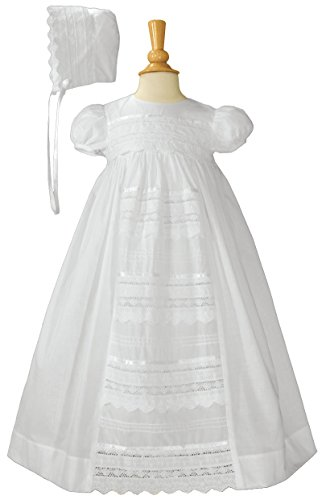 Cotton Heirloom Christening Gown with Cluny and Eyelet Lace Panel 6-12 (Traditional Christening Gowns)