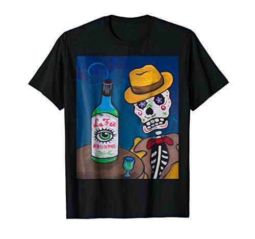 Los Muertos Skeleton Drunk On Absinthe T-Shirt