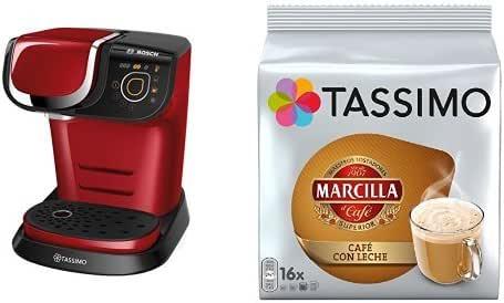 Bosch TAS6003 Tassimo My Way (color rojo) + Pack café 5 paquetes (80 cápsulas) Tassimo Marcilla Café con Leche: Amazon.es: Hogar