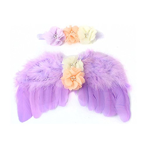 (Wolken Newborn Baby Angel Feather Wing with Chiffon Flower Rhinestone Halo Headband Set Photo Props Outfit Halloween)