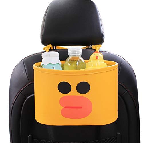 Ergocar Car Organiser Cute Cartoon Car Back Seat Pocket Car Seat Organiser Microfiber PU Leather Hanging Storage Box for Kids - Yellow Ducky