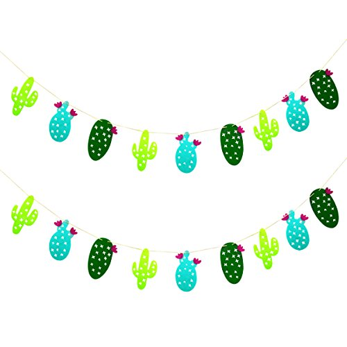 2 Pack Cactus Decoration Non-Woven Fabric Garland Banner for Birthday Party Festival Decoration (Cactus) -