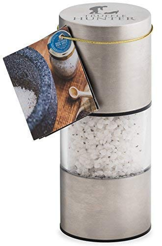 Flaked Black Truffle Sea Salt (1.41 Oz) by TruffleHunter - Refillable, Premium Salt Mill Grinder - No MSG, Non-GMO, Vegan, Gluten Free, Nut Free - Cornish Seasalt & European Black Truffles