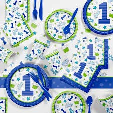 (First(1st) Birthday Boy Party Supplies Decorations Kit- Includes Dinner Plates, Dessert Plates, Napkins and Tablecloth for 16)