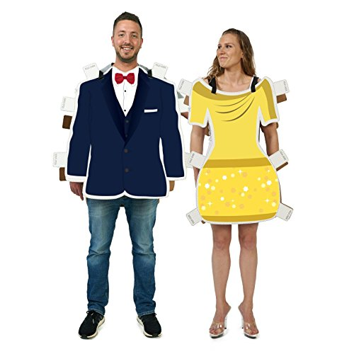 Couples Beauty Beast Cardboard Wearable Costume (Beauty And The Beast Couples Costume)