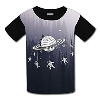 Pilot Rotate in Space DIY Kid Short Sleeve Shirts Boys Girls Tee Sports Crew Round Tops XS