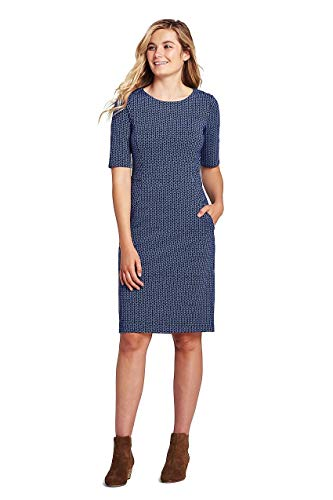 (Lands' End Women's Petite Ponte Knit Sheath Print Dress with Elbow Sleeves, 14, Radiant Navy Geo)