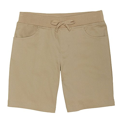French Toast Girls' Little Stretch Pull-On Tie Front Short, Khaki, 6X