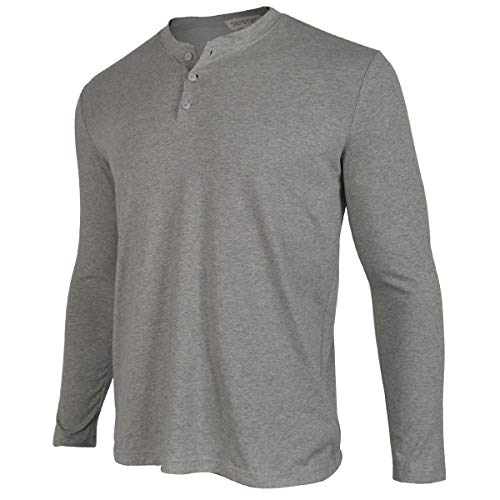 - Men Casual Long Sleeve Shirts Henley Work Cotton Tee Shirt V Neck Button Stylish Loose Slim Fit T Shirt Sport Workout Outdoor Wear Gym Beach Party Hiking Travel Business Autumn Spring(L, Grey)