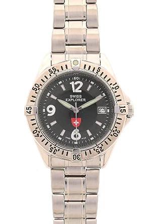 Swiss Explorer Herren-Armbanduhr Analog Edelstahl Silber 147 H NOIR