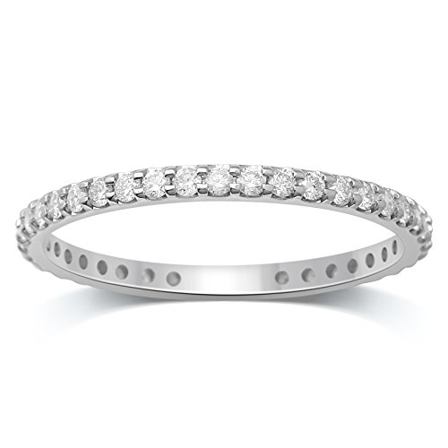 Diamond Jewel 14K White Gold 1/2 cttw Diamond (H-I Color, I1 Clarity) Prong Set Eternity Band by Diamond Jewel