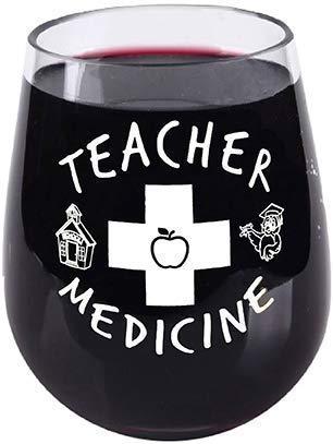 Teacher Appreciation - Teacher Medicine - Stemless Wine Glass - Funny - Tritan Plastic Material - Shatterproof Unbreakable - 16 Ounce