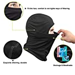 AUGUR Balaclava Windproof Ski Mask, Ski Face Mask Motorcycle Neck Warmer Tactical Balaclava Hood for Snowboard Cycling Hat Outdoors Helmet Liner Mask - Black