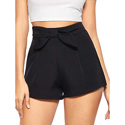 (Sunyastor 2019 New Shorts for Woman Summer Woman Short Pants High Waist Pleated Bow Office Work A-Line Shorts Black)