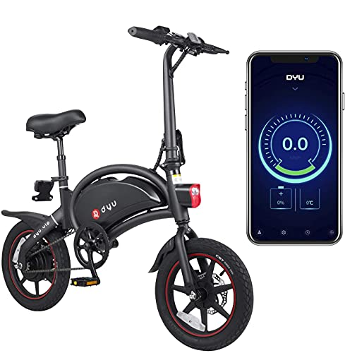 DYU D3 PLUS Foldable Electric Bicycle, Smart Bike for Adults, 240W Aluminum Bicycle Removable 36V/10Ah Lithium-Ion…
