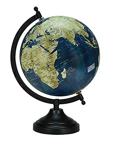 Navy Blue Unique Antiique Look Rotating Navy Blue Color Globe Table Decor Ocean Geographical Earth Desktop Globe by Globes Hub-Perfect for Home, Office & Classroom