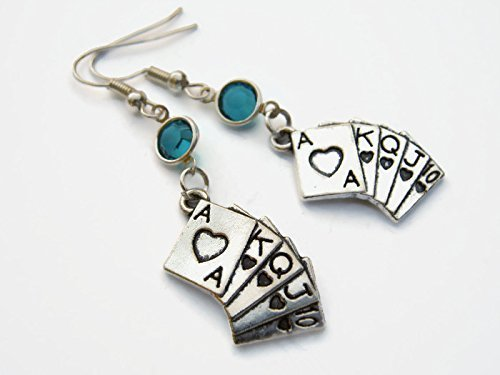 Royal Flush Birthstone Earrings, Personalized Card Suit Earrings, Poker Game Earrings, Swarovski Crystal Earrings ()