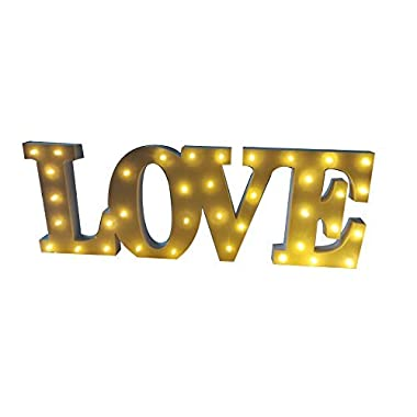 Decorative Wooden LED Letters Light Love (20  x 7  x 1.18 ) - Batteries Operated (not Included) LED Marquee Sign - Light up Letters and Illuminated Home Wedding Decorations (20  x 7  x 1.18 )