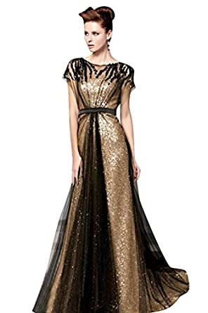 Mollybridal Tulle Sequin Pleat Evening Dress With Sleeve Black Gold 2