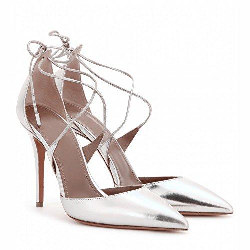 Kolnoo Stiletto Heel Pointed Toe Lace Up Solid Strappy Pumps Größe 35-45 Silber