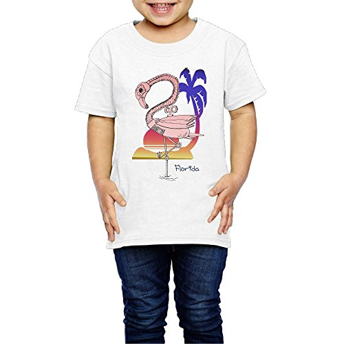 Aiguan Steampunk Flamingo Toddler Short Sleeve T-Shirt Cozy Top for Little Boy & Girl White