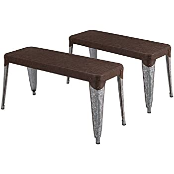 Amazon.com - Modern Industrial Metal Dining Bench with Wooden Seat ...