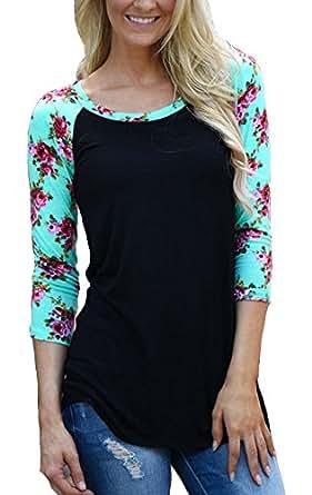 KufvWomens Prints Florals 3/4 Sleeve Crew Neck Top Tshirt (S, Black)