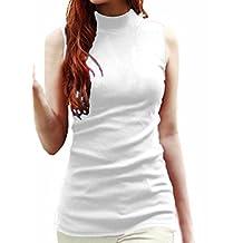 Womens Solid Plain Cotton Mock Turtle Neck Vest Tank Top White Plus-size 1X