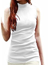 Womens Solid Plain Cotton Mock Turtle Neck Vest Tank Top