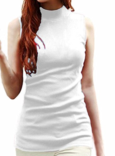 Spandex Mock Turtleneck - LIREROJE Womens Solid Plain Cotton Mock Turtle Neck Tank Top White M