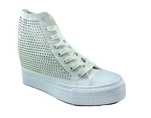 buy popular 4da00 6a49b Original Mujer De Zapatos Marines Bianco Lona Cordones Para qOFqU6r