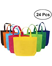 NUOLUX Party Favor Gift Bags Reusable Shopping Tote Bags Assorted Colors - 24 Pieces