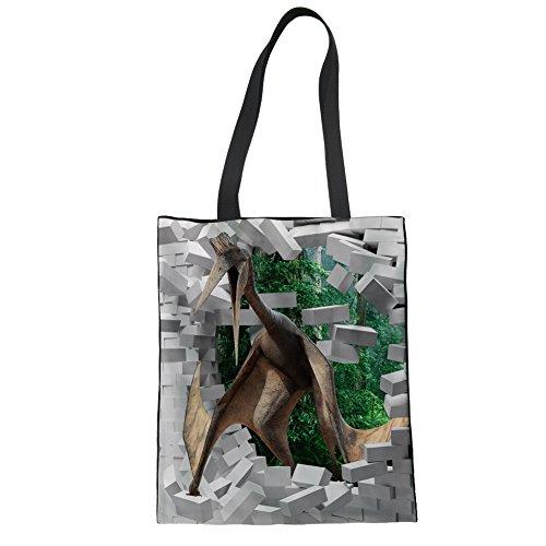 Nopersonality Bolso de tela de Lona para mujer Dinosaur Pattern-3