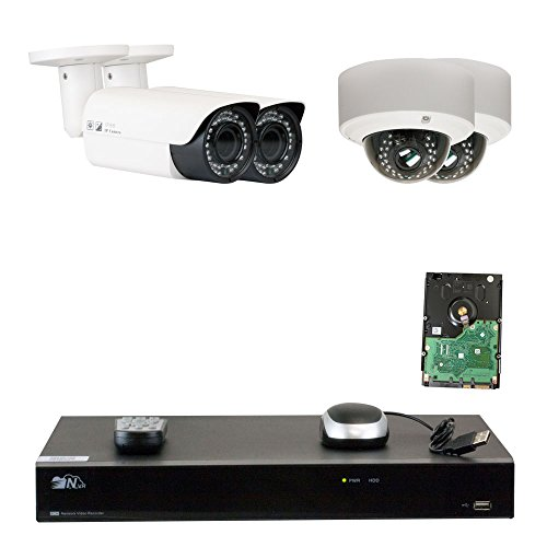 GW Security 8 Channel H.265 4K NVR 5-Megapixel (2592 x 1920) 4X Optical Zoom Network Plug & Play Security System, 4pcs 5MP 1920p 2.8-12mm Motorized Zoom POE Weatherproof Bullet & Dome IP Cameras