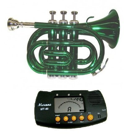 Price comparison product image MERANO GREEN LACQUER POCKET TRUMPET WITH CASE + FREE METRO TUNER by Merano