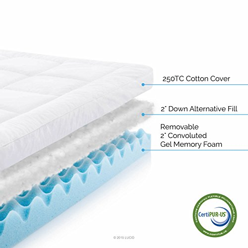 lucid hybrid down alternative gel infused memory foam mattress topper queen ebay. Black Bedroom Furniture Sets. Home Design Ideas