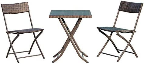 Outsunny Bistroset Polyrattan 3tlg. Sitzgruppe Essgruppe Tisch-Stuhl Set Balkonmöbel Gartenmöbel Garnitur Kaffeebraun