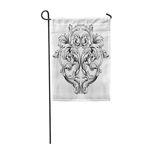 Semtomn Garden Flag 12x18 Inches Print On Two Side Polyester Arabesque Baroque of Vintage Filigree You for Wedding Laser Cutting Home Yard Farm Fade Resistant Outdoor House Decor Flag