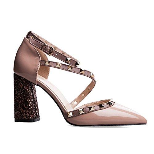 e4c64e4c8e21e Tachonadas Altos color Sandalias De uk4 Tamaño Mujeres Eu36 Las Pink Gruesa  cn36 Suela Donglu Tacones ...