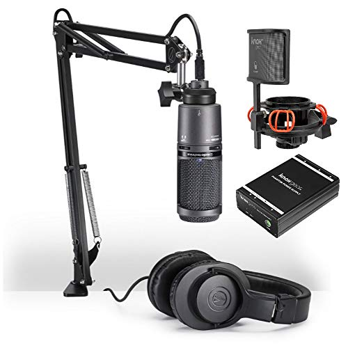 (Audio-Technica AT2020USB+PK Vocal Microphone Streaming and Podcasting Pack with Knox Gear Shock Mount and Portable Phantom Power Supply)