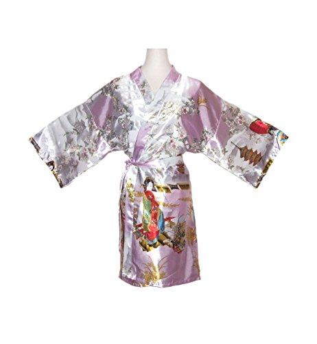 Damen Morgenmantel kimono kurz Satin