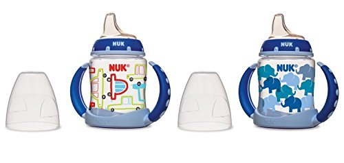 NUK Learner Cup Silicone Bundle Pack, Cars/Elephants, 5 Ounce, 2 Count