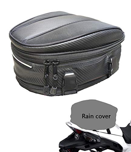 Motorcycle Tail Bag, Meago Multifunctional Sport Seat Bag Nylon Luggage Bag Motorbike Back Seat Bag Tear-Resistant Motorbike Accessories Bag for Universal Fit,15 Liters (Upgraded Tail Bag) (Back Seat For Motorcycle)