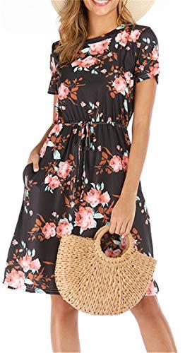 Summer Dresses for Women Casual Sundresses Floral Pocket Short Sleeve Midi Dress with Belt Black ()
