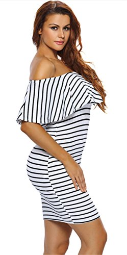 Party Off Cocktail Stripe Bodycon Shoulder White Club Dress Mini Women's Allonly U50qgg